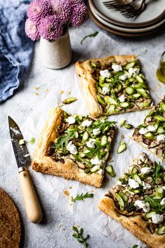 A delicious and easy to make Asparagus Tart with puff pastry. Flavored with goat cheese, this cheese tart is a perfect appetizer for any gathering. #asparagus #appetizer #puffpastry #recipe #foolproofliving