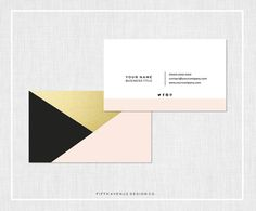 Modern Business Card Design Black Blush & by FifthAvenueDesignCo