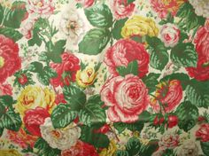So Vintage And So Pretty ~ 1940's Chintz Polished Cotton Floral Fabric