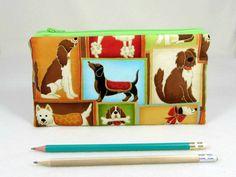 Dog pencil case, School supplies, Zipper pouch, Small makeup bag, Organizer bag, Pencil holder, Gadet case by JRsbags on Etsy