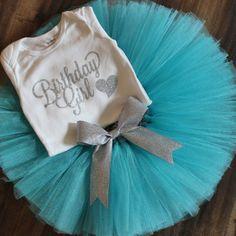 Birthday Girl Tutu Set // Blue and Silver Tutu // Winter Birthday Tutu