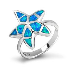 Nautical Starfish Hawaiian Jewelry Blue Opal Ring 925 Sterling Silver