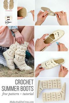 """These lacy, cotton """"Coachella Boots"""" will complete your boho-inspired outfits al. - - These lacy, cotton """"Coachella Boots"""" will complete your boho-inspired outfits all spring and summer long! Crochet them with flip flop soles! Crochet Boots Pattern, Crochet Slippers, Boho Crochet Patterns, Crochet Slipper Boots, Slipper Socks, Mode Crochet, Crochet Gratis, Ravelry Crochet, Cotton Crochet"""