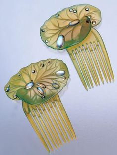 Vintage Lilypads Hair Combs, 1906.