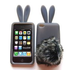 Bunny Skin Case With Furry Tail for Apple iPod Touch -This is adorable