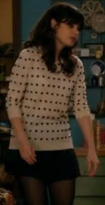 Zooey Deschanel - polka dot sweater, black skirt.