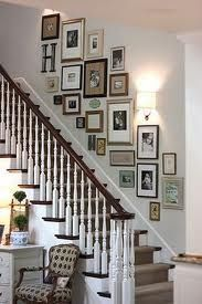 photo display idea in stairwell with picture frames