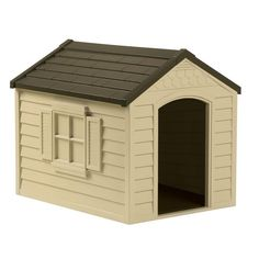 Easy snap together assemble, no tools required. The Suncast Dog House. Keep your loved pet safe, warm, and dry outdoors with his own Dog House. Vinyl door also included. Durable Dog House Resin With Vinyl Door. Extra Large Dog House, Large Dogs, Small Dogs, Outdoor Dog, Indoor Outdoor, Plastic Dog House, Grande Niche, Insulated Dog House, Dog House For Sale