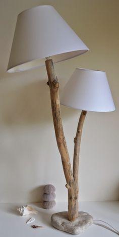 Lampadaire en bois flotté abat-jour gris | Idées pour la maison ...