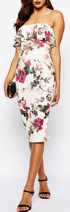ruffle bandeau floral dress