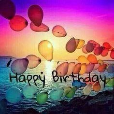 Balloons, beach, Sunset, coastal, banner, happy birthday