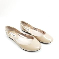 9fd2c909c3b Steve Madden Womens Size 6 M P-Heaven Flats Ballet Patent Leather Round Toe  Nude