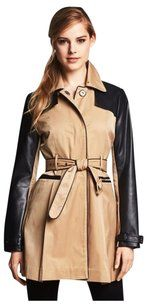 Bebe Faux Leather Trench Trench Coat