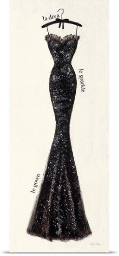 Emily Adams Poster Print Wall Art Print entitled Couture Noir Original IV, None