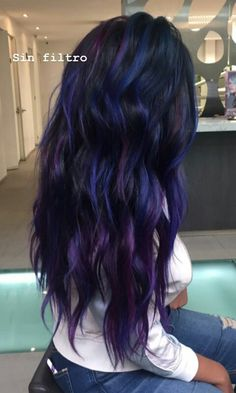 24 new hairstyle and color ideas for 2019 - All For Hair Color Balayage Pretty Hair Color, Beautiful Hair Color, Hair Color For Black Hair, Dark Hair, Blue Purple Hair, Raven Hair Color, Hair Dye Colors, Ombre Hair Color, Vidal Sassoon Hair Color