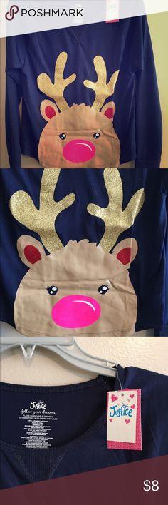 Justice reindeer pajama shirt. Cute reindeer pj shirt from Justice.  Girls six xl navy blue color. Justice Pajamas Pajama Tops