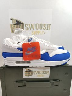 Nike Air Max 1 Anniversary White/ Game Royal-Neutral Grey 908375 102 Size 10 #Nike #AthleticSneakers