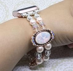 Handmade Women Bead Bracelet Watch Band Compatible for Apple Smartwatch iWatch (38mm & 42mm) ~ made in the USA by www.elegantlifeboutique.com  Please visit my Etsy shop @ElegantLifeBoutique #applewatch #fashionideas #etsy #eBay #jewelry #fitness #beauty #beadjewelry #watchstrap #handmadejewelry #beadwatchband #braceletwatch #braceletband #iWatch