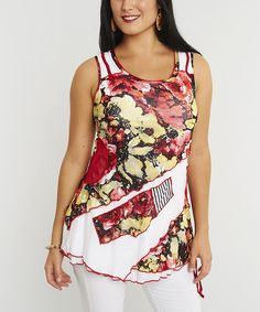 Red & Yellow Floral Sleeveless Tunic