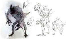 """Fleder. Fledery zaliczają się do niższych wampirów. Posiadają skrzydła, dzięki którym pikują na nieświadomą niebezpieczeństwa ofiarę i wysysają z niej krew. W tym przypadku zalecane jest użycie eliksiru """"Czarna Krew"""". Z wyglądu bardzo przypominają nietoperza przez kształt głowy oraz skrzydła."""