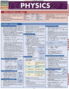 Physics Laminated Reference Guide Reference and outline to concepts in physics…