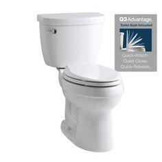 KOHLER Cimarron White High Efficiency Watersense Round 2-Piece Toilet. chair height. Soft close lid