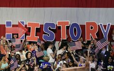 <p>Supporters for Democratic presidential candidate Hillary Clinton hold up letters to spell the word, history, during a presidential primary election night rally, Tuesday, June 7, 2016, in New York. (AP Photo/Julie Jacobson) </p>