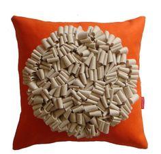 Orange and cream loop cushion