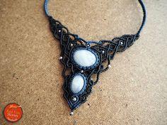 Rainbow Moonstone Macrame Necklace macrame jewelry healing