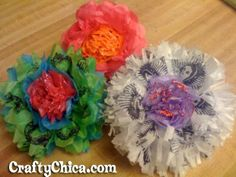 Stamped Tissue Flower Pins | CraftyChica.com | Sparkly, artful inspirations by artist and author, Kathy Cano-Murillo.