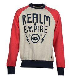 Realm & Empire Sweatshirts. Realm & Empire Ecru Marl, Pink & Blue 'Ever Open Eye' Crew Neck Sweatshirt