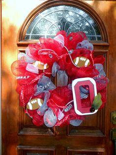 Ohio State Deco Mesh Wreath | Ohio State Buckeyes Deco Mesh Spirit Wreath by TheMeshyMama, $55.00