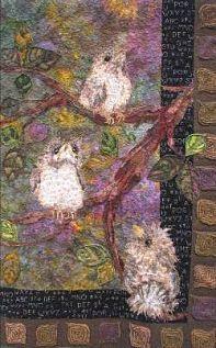 An art quilt by artist & quilter Doreen Prakshot of Gatlinburg, TN.  Her art brings me joy
