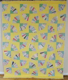 Fabulous Vintage 1930s Yellow Grandmothers Fan Quilt Feedsacks Gift Idea | eBay