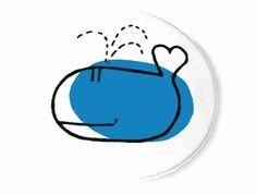 Buttons - Tiere - Liebeswal, 38mm Button - ein Designerstück von Kirschblueten-Tsunami bei DaWanda