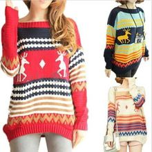 Ugly Christmas Sweater Women Red Reindeer Striped Pullover Christmas Jumpers Loose Asymmetrical Batwing Sweater with Deer(China (Mainland))