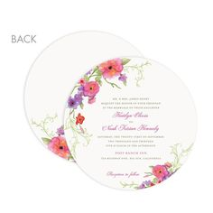 Arbor Blooms - Signature White Wedding Invitation Circle Cards - Lady Jae - Fuchsia - Pink : Front