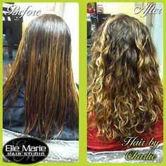 """(11/19/2012) Before and After of a PERM I did on my guest Terra! Perms get a bad rap because people only remember the """"poodle perms"""" of the 80's but let me tell you they are SO different now! And (as you can tell) the technology in perms now allows you to perm hair that has been lightened! ~ Charlie #ellemarie #beforeandafter (Hair by #ElleMarieCharlie)"""
