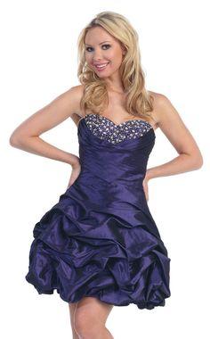 Strapless Sweetheart Flat Beading Bubble Hem Satin Cocktail Dress