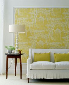 Framed wallpaper - trim moulding cut to the proper size at Home Depot and painted white to frame a piece of wallpaper OK not wall paper . Framed Wallpaper, Wallpaper Ideas, Wallpaper Panels, Wallpaper Headboard, Faux Headboard, Fabric Wallpaper, Orange Wallpaper, Temporary Wallpaper, Accent Wallpaper