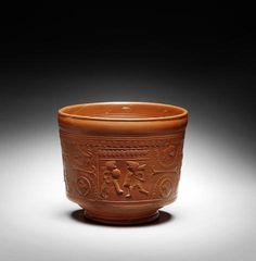 A Roman terracotta, c.1st century, 'Terra Sigilat' Samian ware bowl. Gladiator decoration.