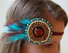 Blue Bohemian Feather Native Beaded Headband $20