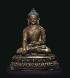 A bronze figure of Buddha   A BRONZE FIGURE OF BUDDHA NEPAL, 13TH CENTURY