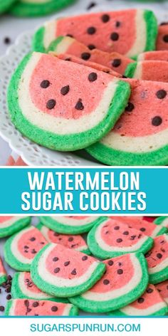 These pretty Watermelon Sugar Cookies are made completely from scratch using one homemade dough! I'll walk you through the (surprisingly easy) process in my recipe below and have included plenty of step-by-step pictures as well as a how-to video! Bake Sale Recipes, Easy Cookie Recipes, Baking Recipes, Snack Recipes, Dessert Recipes, Bar Recipes, Snacks, Drop Sugar Cookies, Sugar Cookies Recipe