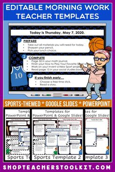These sports-themed Editable PowerPoint and Google Slides Teacher Templates include space to type the day and date, reminders of what to do when entering the classroom, as well as 'must do' and 'may do' assignments. Remind your students of their morning assignments during arrival time by displaying them on your whiteboard or SMARTBoard. #teachertemplates #morningarrivalinstructions #editable #powerpoint #googleslides #funthemes #sports