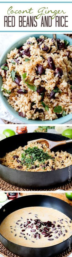 Coconut Ginger Red Beans and Rice swirled with cilantro and lime with only one minute more cook time than boring white rice.