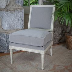 Silver #Mohair Slipper Chair