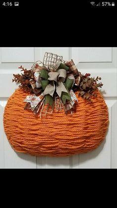 Dollar Tree Pumpkins, Dollar Tree Decor, Dollar Tree Crafts, Thanksgiving Wreaths, Fall Wreaths, Autumn Crafts, Holiday Crafts, Wreath Crafts, Wreath Ideas
