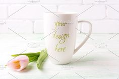 White coffee cappuccino mug mockup by TSTStockMockupPhotos on @creativemarket