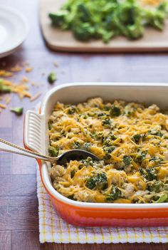 Dinner! Healthy Cheesy Chicken Broccoli Rice Casserole. A lightened up version of the classic casserole recipe.